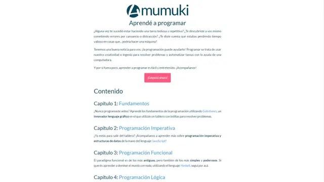 La portada del sitio Mumuki