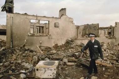 Una de las casas destruidas tras el accidente.