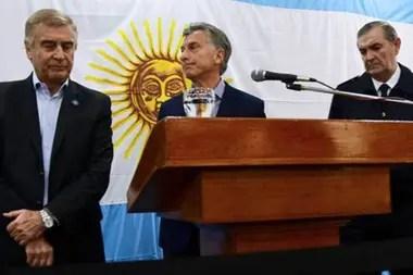 Oscar Aguad, Mauricio Macri y Marcelo Srur