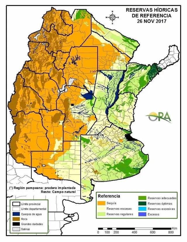 La situación de la reserva hídrica en las diversas regiones