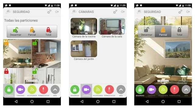 Las aplicaciones de los servicios de alarma hogareña (ADT, en este caso) permiten ver qué sucede en casa cuando no estamos