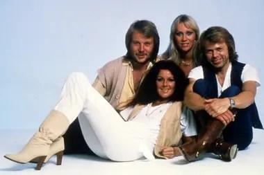 ABBA en 1977, los años de su apogeo como grupo activo: Bjorn Ulvaeus, Agnetha Faltskog, Benny Andersson y Anni-Frid Lyngstad
