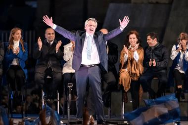 Acto de Alberto Fernández Junto a Cristina Fernández y Axel Kicillof