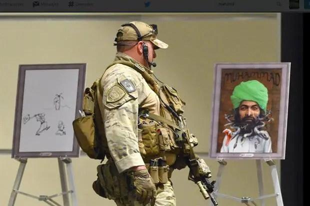 Los dos hombres murieron tras dispararle a un guardia en una exhibición de caricaturas del profeta Mahoma