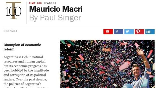 Mauricio Macri en la revista Time