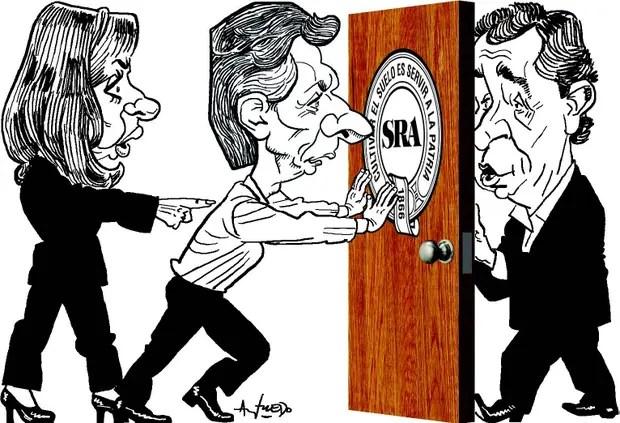 Cristina Kirchner, Mauricio Macri y el presidente de la Sociedad Rural, Luis Miguel Etchevehere
