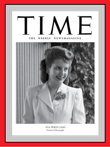 En la lista también aparece una argentina: Eva Perón, en la portada correspondiente a 1946 y titulada como