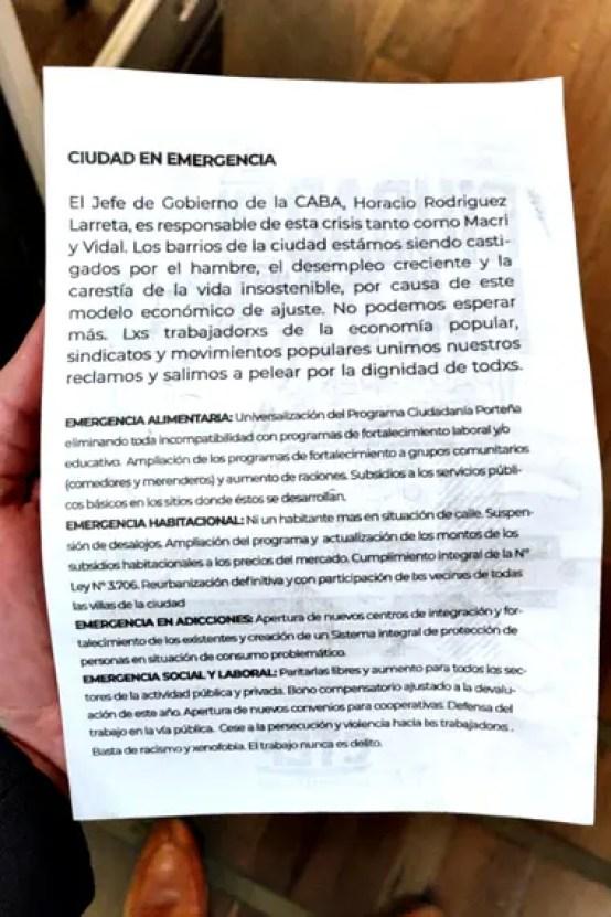 El texto entregado por los manifestantes