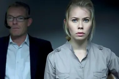 Birgitte Hjort Sørensen as the incorruptible Katrine Fonsmark (here with her editor, Torben Friis) in Borgen, the Danish series that gained a huge following after its delayed local premiere on Netflix.