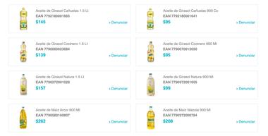 Así es la lista de productos que presenta el Simap