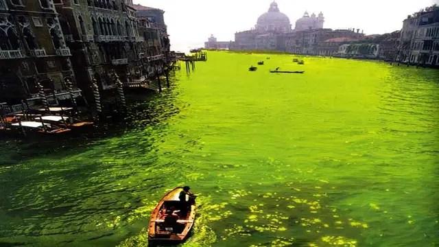 Coloración del Gran Canal, fotografía de su acción de 1968