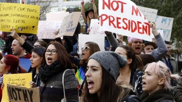 Protestas en Manhattan contra el triunfo electoral de Trump, 10 de noviembre del 2016