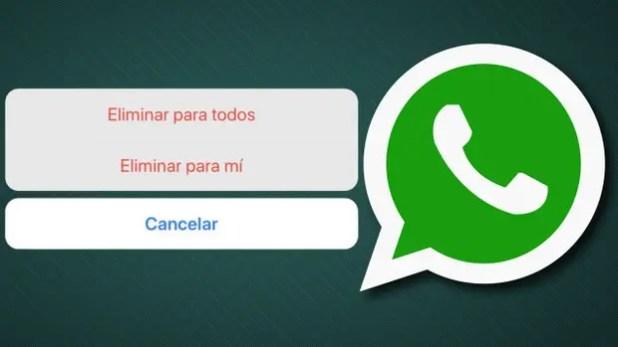 Las opciones para eliminar un mensaje en Whatsapp