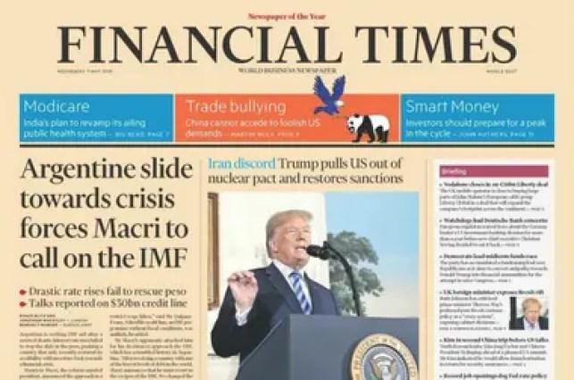 La versión del Medio Oriente del FT destacará el mensaje del Presidente en su tapa de mañana