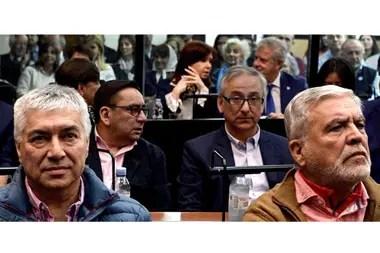 Lázaro Báez, Julio De Vido y Cristina Kirchner, en una audiencia del juicio