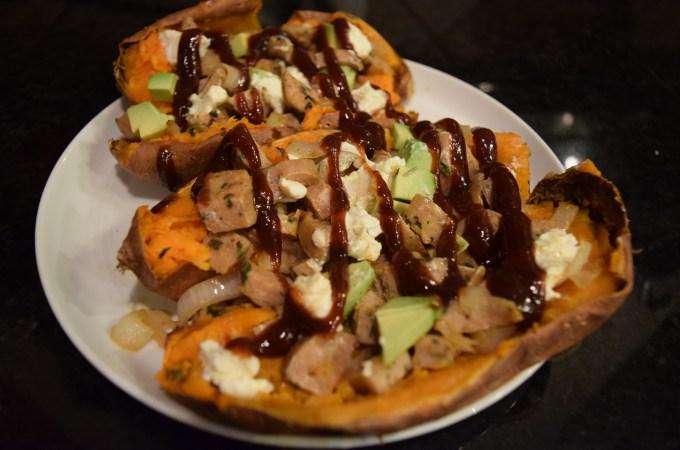 BBQ chicken goat cheese stuffed sweet potatoes