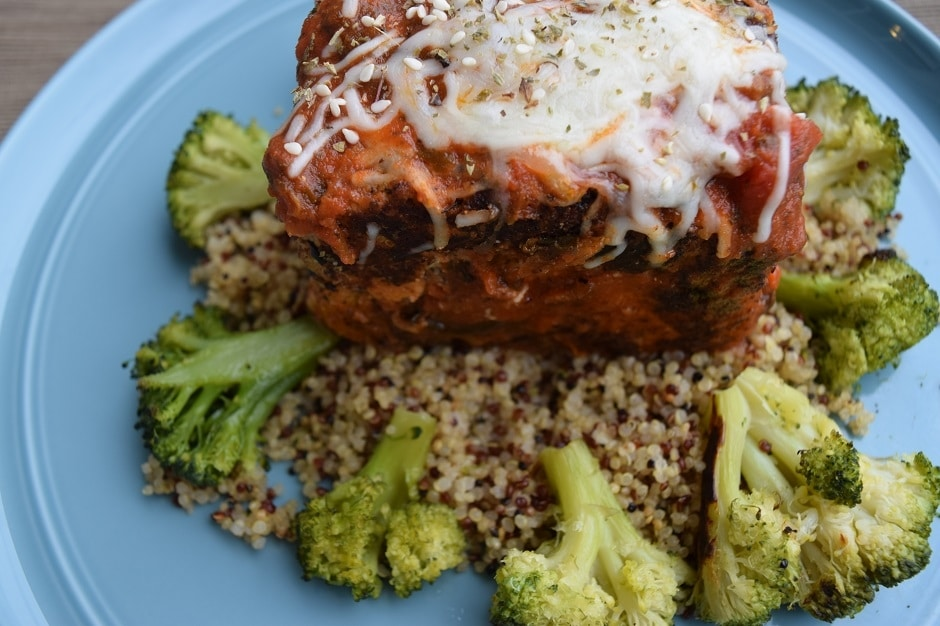 Sesame Almond Meal Tofu Parmesean over quinoa