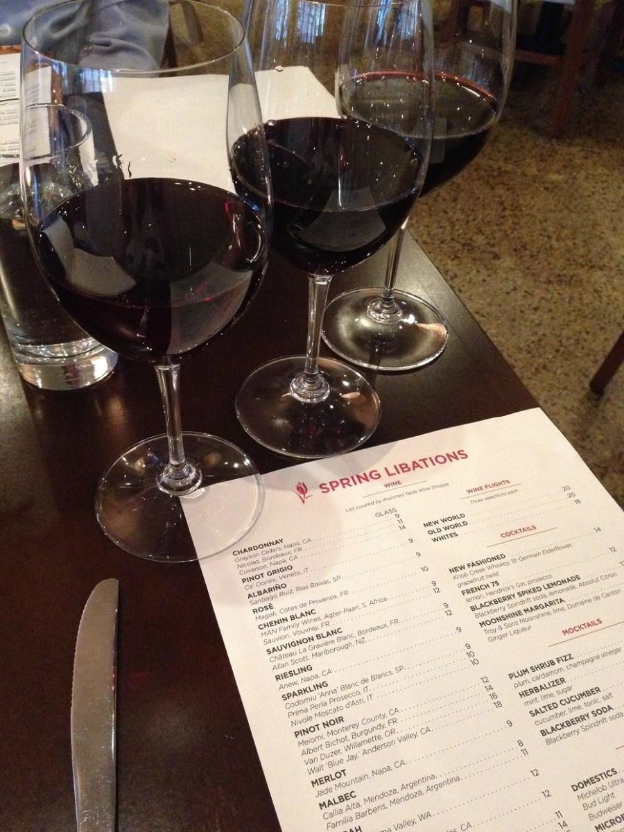 Asbury spring menu, wine flight, Charlotte
