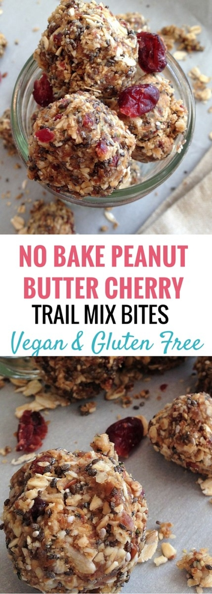 no bake peanut butter cherry trail mix bites