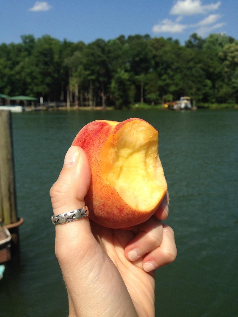 peach on lake