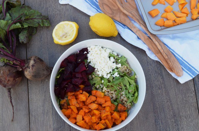 Butternut Squash, Beet and Barley Salad with Apple Maple Vinaigrette