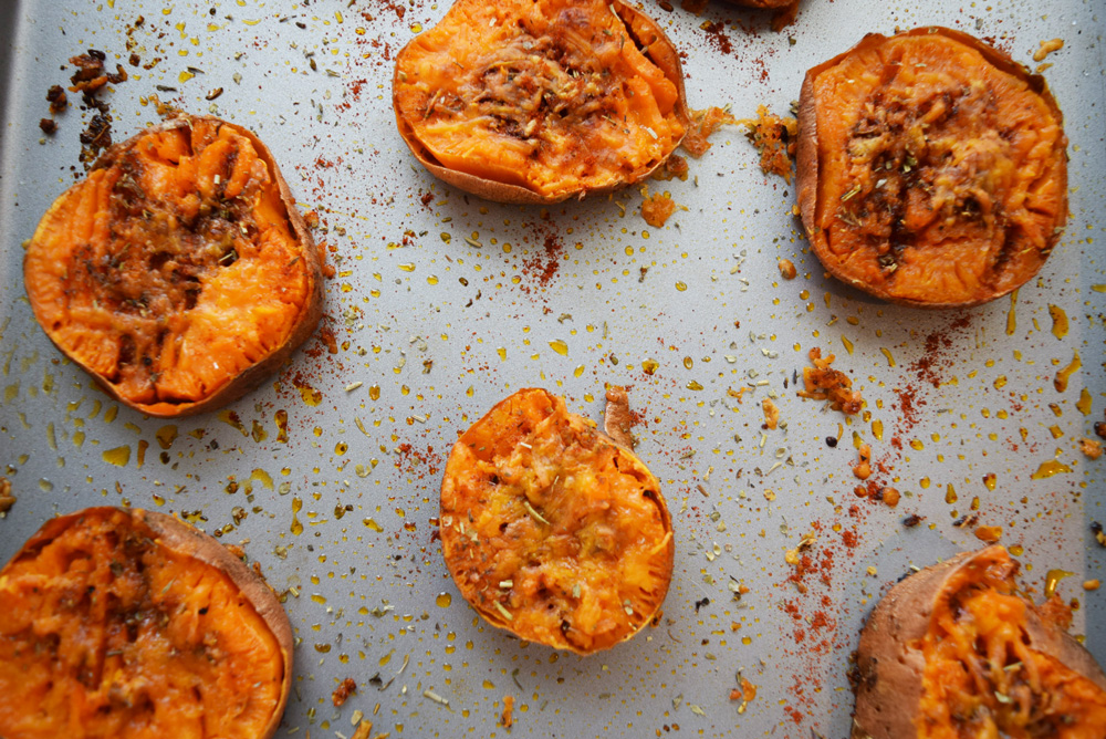 Butter Cheddar Sweet Potatoes, Smashed Sweet Potatoes