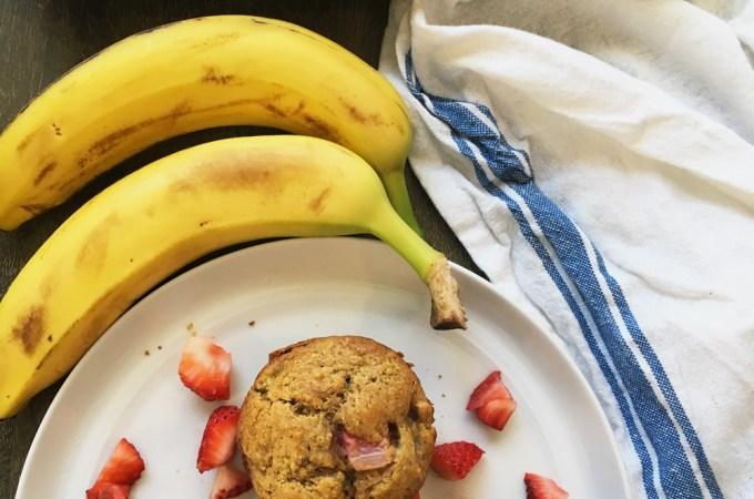 Strawberry Banana Chickpea Muffins (Gluten Free)