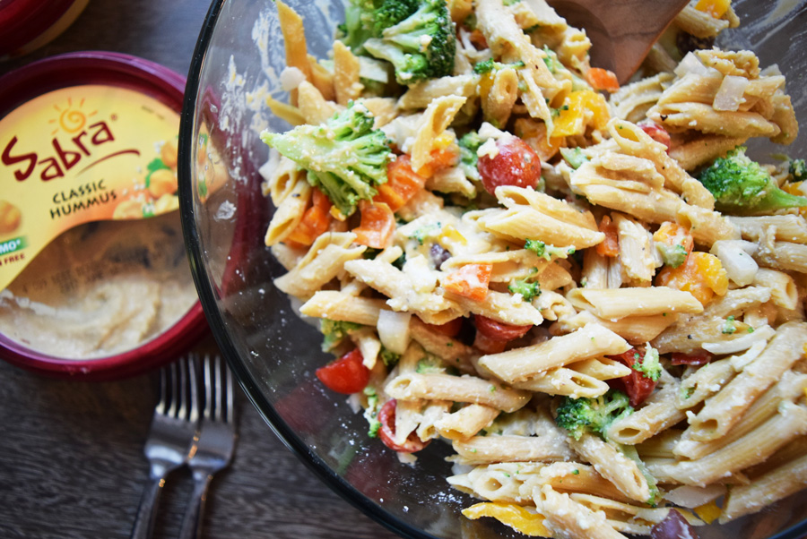 Hummus Mediterranean Pasta Salad, Summer BBQ, Pasta salad