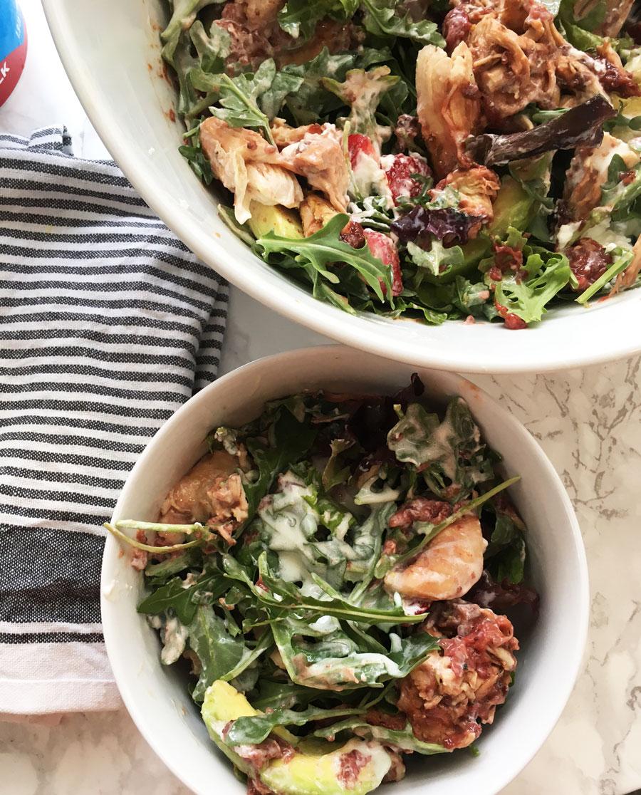 Summer Strawberry Grilled Chicken Salad, Honey Yogurt Dressing