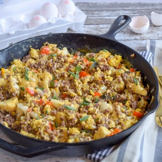 This Skillet Breakfast Scramble is a tasty and nutritious one-pan meal that should not be limited to just breakfast. Full of protein, veggies and lots of flavor, it is great for group gatherings or meals that can last you throughout the week!