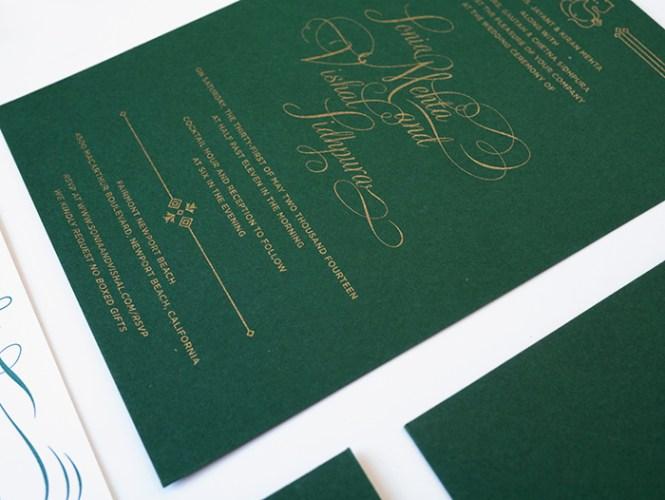 New Work Green Gold Wedding Invitations