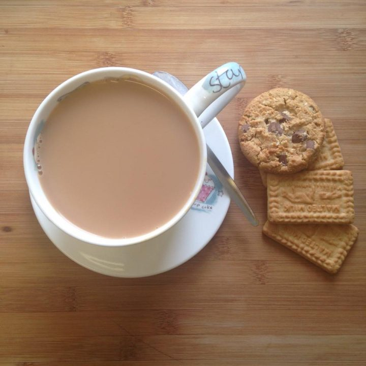 Mug of tea with biscuits