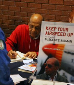 Author and one of the 930 original Tuskegee Airmen of WWII, Dr. Harold H. Brown signed over 150 copies of his memoir!
