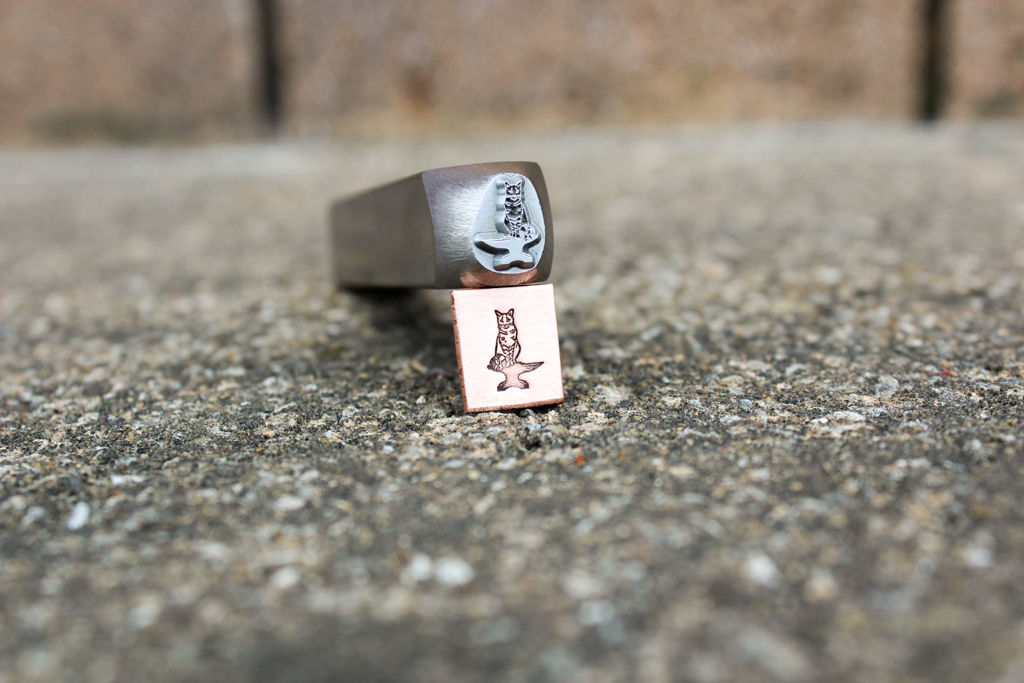 Anvil Cat Jewelry Stamp custom made by Buckeye Engraving