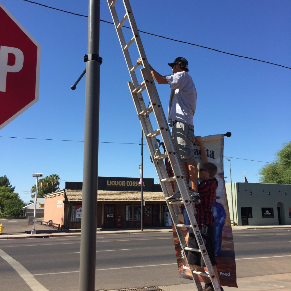 Daniel Estes, local contractor painted the existing pole and attached the hardware and banner just last weekend!
