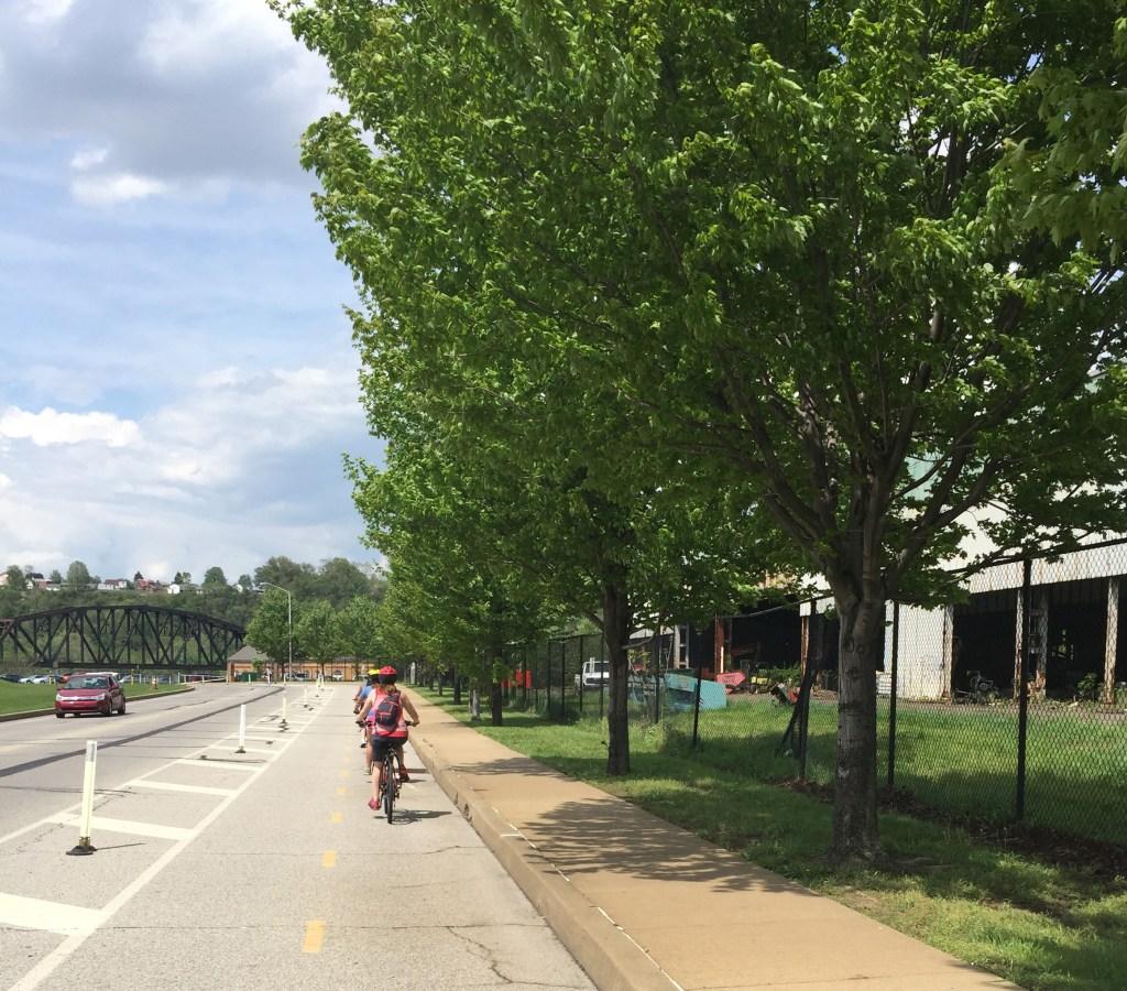 Bike Trail meets adjacent to vehicular traffic.