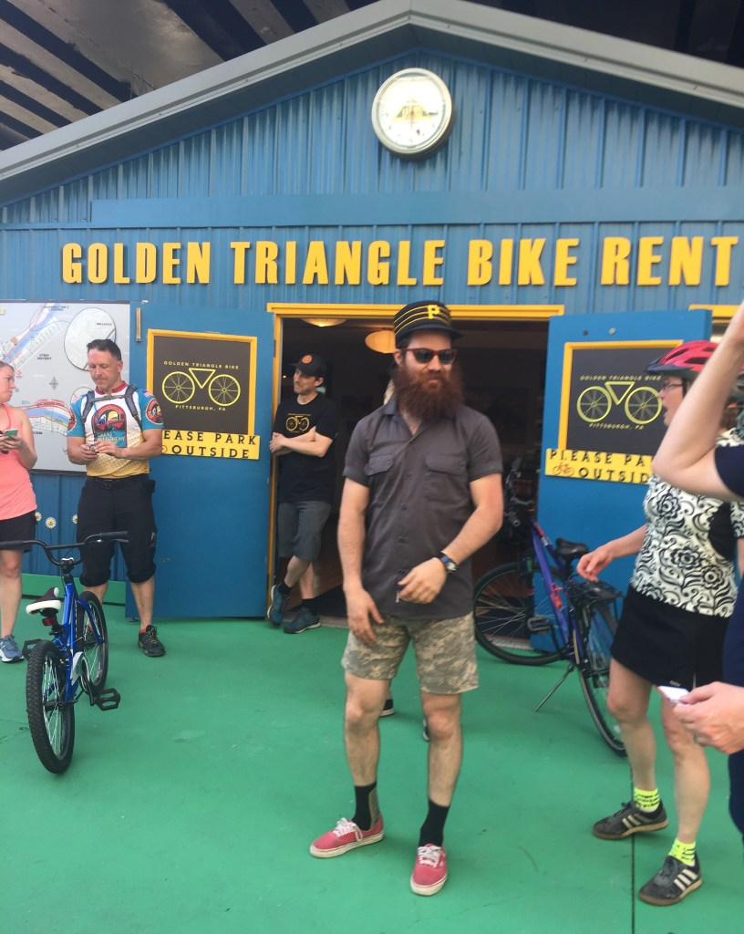The trek ended in downtown Pittsburgh at the bike rental shop.