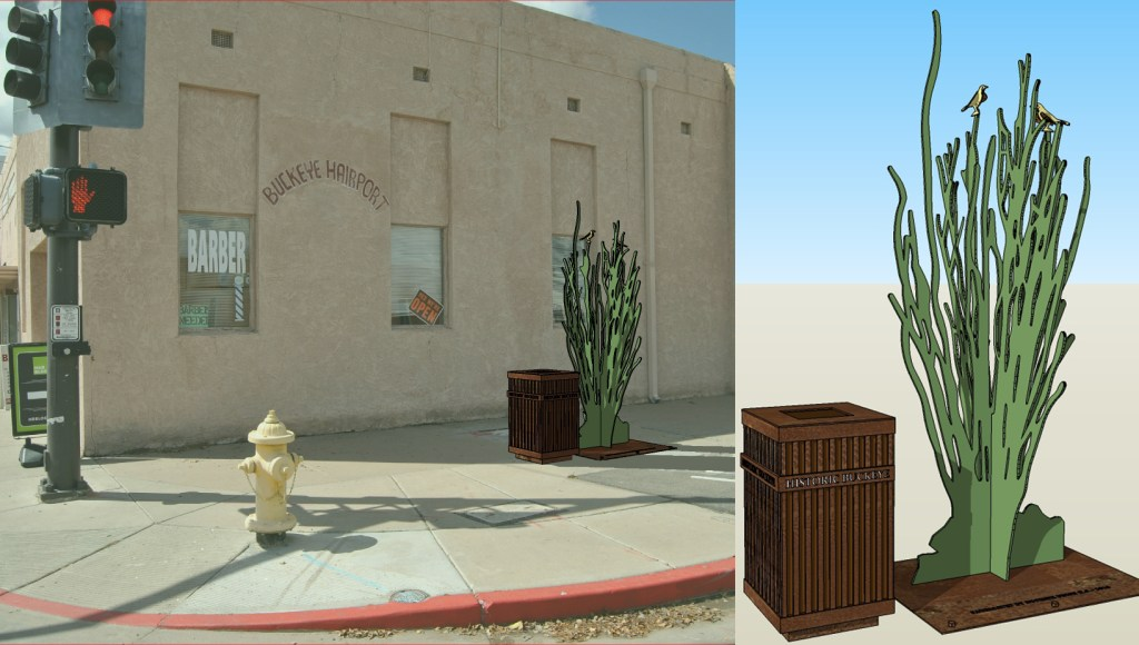 Steel Ocotillo Trash Can Art to be located at the NW corner of 4th Street and Monroe