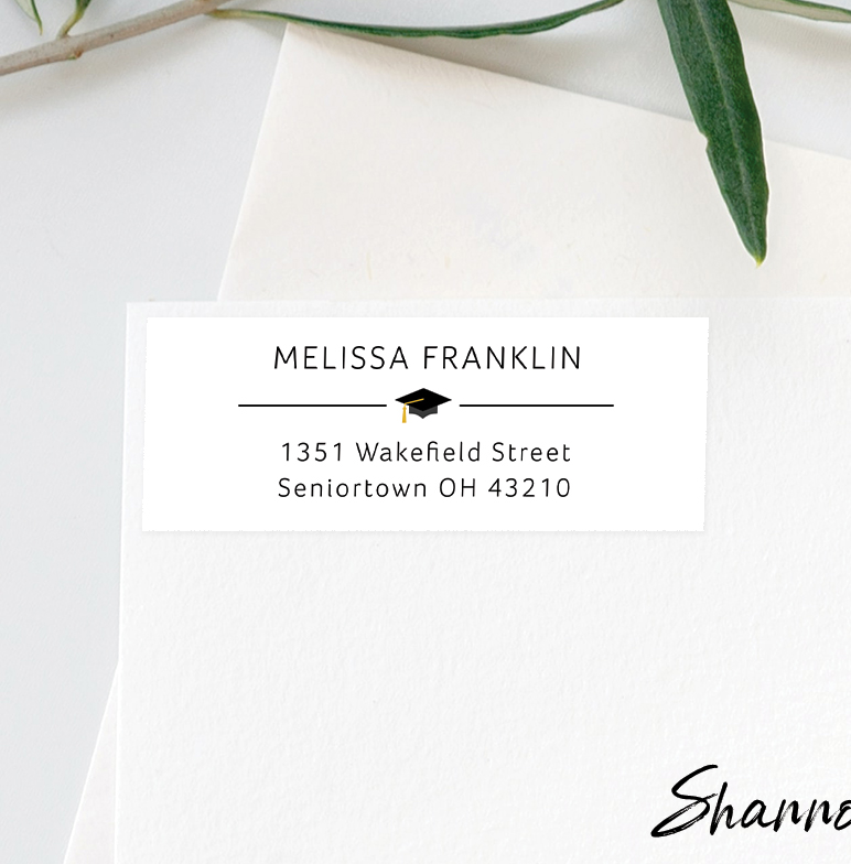 Return address label on an envelope