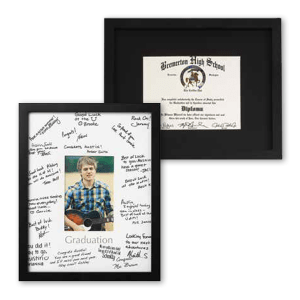 One version of a diploma frame showing the signature mat and photo and another with a diploma