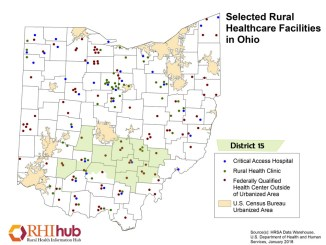Map of Ohio noting rural health care centers