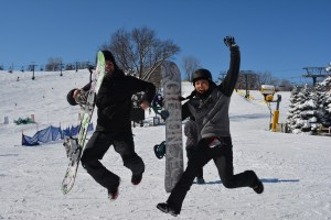 snowboarding at buck hill