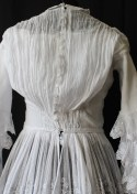 back of the bodice of Edwardian Tiered Multi - Layered Muslin Dress