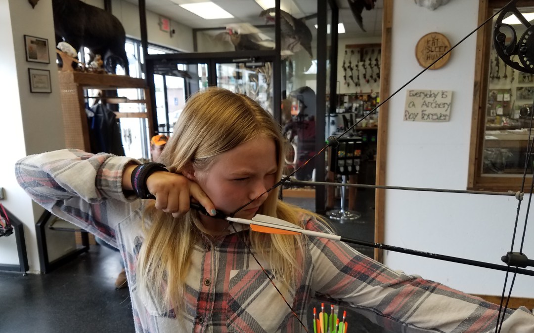Ellisha came into Bucks and Bulls Archery to start practicing for hunting.