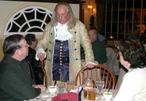 Ben Franklin chats with diners; photo courtesy of Peddlers Village