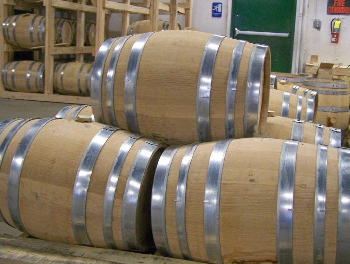 Whiskey barrels at Dad's Hat