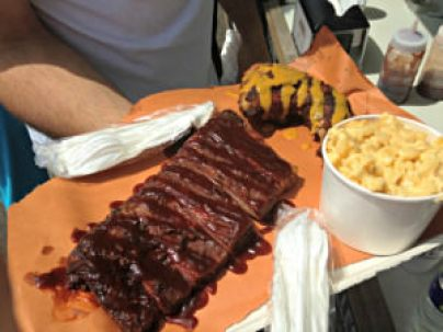 PVT BBQ platter at Wrightstown Farmers Market; photo credit Lynne Goldman