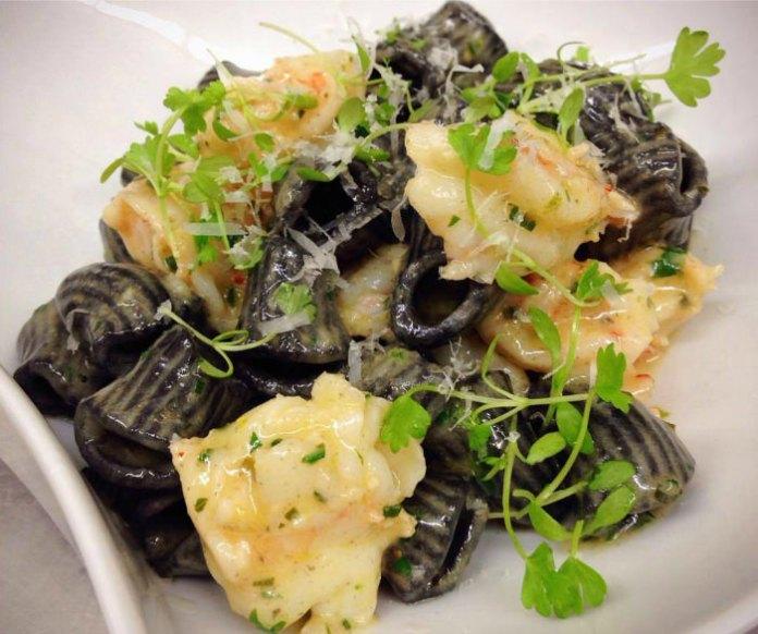 Shrimp Scampi with Blackened Rigatoni; photo courtesy Charcoal BYOB