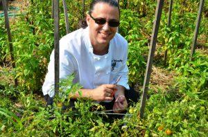 Chef Bill Murphy in Earl's Bucks County garden