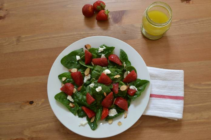 Strawberry and goat cheese salad; photo credit Kelly Madey
